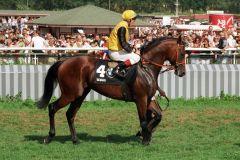 Silvano bei der Parade vor dem Derby 1999. www.galoppfoto.de - Sabine Brose