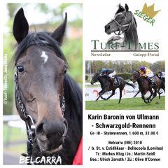 Karin Baronin von Ullmann - Schwarzgold-Rennen: In diesem Gr. III-Rennen für Stuten heißt die Siegerin Belcarra (links), die zum Kurs von 15,3:1 gegen die zweite Favoritin Wismar (3,7:1) gewann und die Festspiele von Markus Klug fortsetzte, der damit seinen 4. Tagestreffer landete. Im Sattel saß Martin Seidl.©Turf-Times/Dr. Jens Fuchs