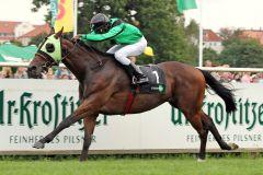 Emerald Fury gewinnt mit Eduardo Pedroza am 23.08.2014 in Leipzig. www.galoppfoto.de - Peter Heinzmann