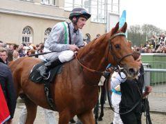 Ein Pferd für größere Aufgaben? Empoli mit Andrasch Starke nach seinem Krefelder Erfolg. Foto: Karina Strübbe