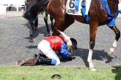 Für einen Moment wurde es gefährlich - nach einem Sturz im Absattelring kommt  Jockey Ronan Thomas nach dem Sieg im IDEE 151. Deutschen Derby unter die Hufe von In Swoop. www.galoppfoto.de - Frank Sorge
