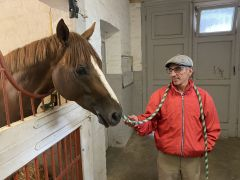 Quebueno mit seinem Trainer Jean-Pierre Carvalho im Stall. ©Turf-Times/Frauke Delius