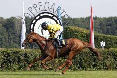 Lexceed mit Eduardo Pedroza gewinnt in Hoppegarten. www.galoppfoto.de - Sabine Brose