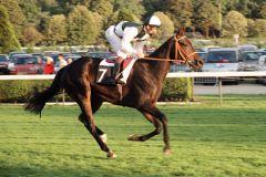 Martessa mit Terence Hellier beim Aufgalopp in Longchamp 1991. www.galoppfoto.de - Peter Heinzmann