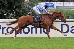 Der Sieg ist nur Formsache für Nordstrand unter Maxim Pecheur. www.galoppfoto.de - WiebkeArt