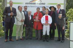 Siegerehrung mit Ferdinand A. Leisten, Hein Bollow, Janet Leve-Ostermann, Norman Richter, Ferduinand J. Leve. Foto Gabriele Suhr
