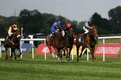 Sieger ohne Derby-Nennung: Sirius (Mitte) gewinnt unter Stephen Hellyn. www.galoppfoto.de - Sarah Bauer