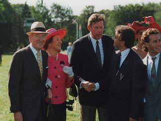 Freude über Lomitas` Erfolg im Geno Europa-Preis, Gr. I, 1991 - Walter J. und Ingeborg Jacobs vom Gestüt Fährhof