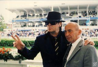 Uwe Stoltefuß mit Udo Lindenberg auf der Derby-Bahn 2003. www.galoppfoto.de - Frank Sorge