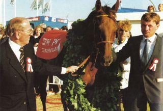 Walther J. Jacobs, Acatenango, Herbert Kahrs unf das Derby 1985. Foto Archiv Fährhof