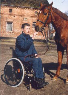 Christian Zschache mit Arrivato, sein erstes Pferd als Besitzertrainer. Foto: www.galoppfoto.de - Frank Sorge
